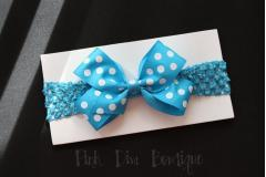 Headband crochet with turquoise bow
