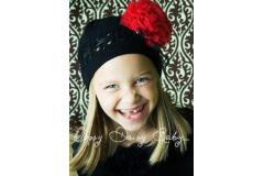 Oopsy Daisy Crochet Black Hat with Red Rosette
