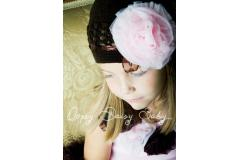 Oopsy Daisy Crochet Brown Hat with Pink Rosette