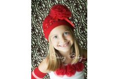 Oopsy Daisy Crochet Red Hat with Red Rosette