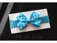 Headband crochet with turquoise bow
