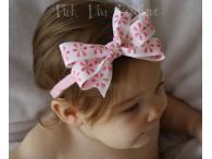 Headband stretchy with pink/white daisy bow