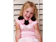 Oopsy Daisy Capsleeve Pink with Brown-Pink Rosettes, 6y