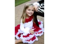 Oopsy Daisy Longsleeve White with Red Rosettes and fur, 6-8y